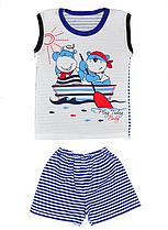 Летний комплект на мальчика Яхта (шорты и майка) 110, Синий