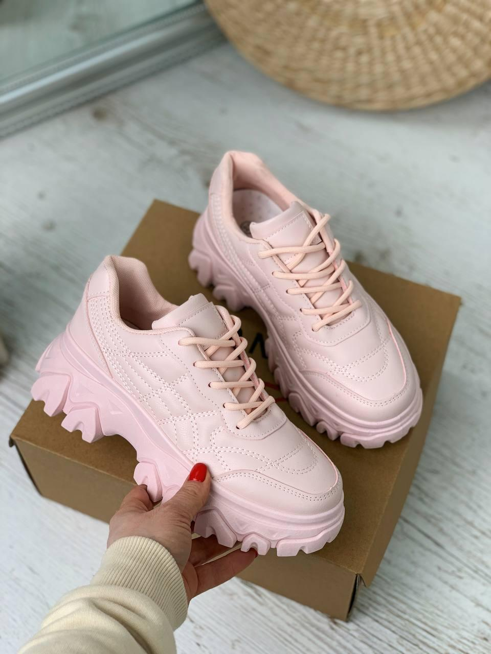 Кроссовки женские розовые эко-кожа