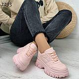 Кроссовки женские розовые эко-кожа, фото 2