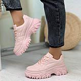 Кроссовки женские розовые эко-кожа, фото 5