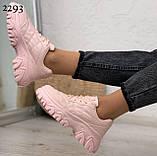 Кроссовки женские розовые эко-кожа, фото 3