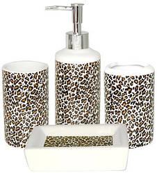 """Набір аксесуарів """"Леопард"""" для ванної кімнати 4 предмета, кераміка"""
