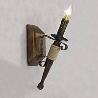 Бра настенное 1 свеча Е14 серии Fakel Джут 110721