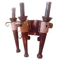 Бра настенное 3 свечи Е14 серии Fakel Джут 120723