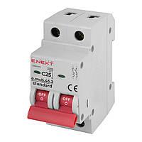 Модульный автоматический выключатель E-NEXT e.mcb.stand.45.2.C25, 2р, 25А, C, 4,5 кА, фото 1
