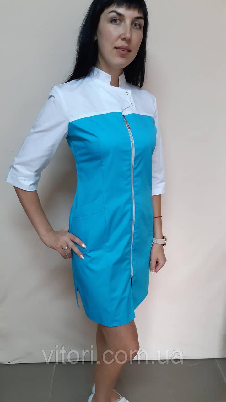 Жіночий медичний халат Герда на блискавці коттон три чверті рукав
