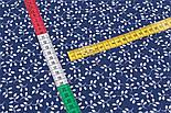 """Клапоть тканини """"Мініатюрні гілочки з листочками"""" білі на синьому, №3319а, розмір 18*160 см, фото 5"""