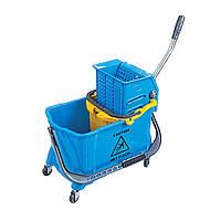 Тележка одноведерная на колесах для уборки помещений пластиковая маленькая Уборочный инвентарь для клининга