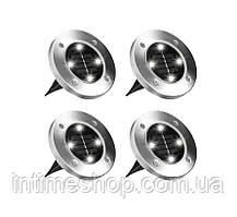 "Уличные фонари для сада ""Bell Howell Disk lights"" (4 шт) LED светильники на солнечной батарее (TI)"
