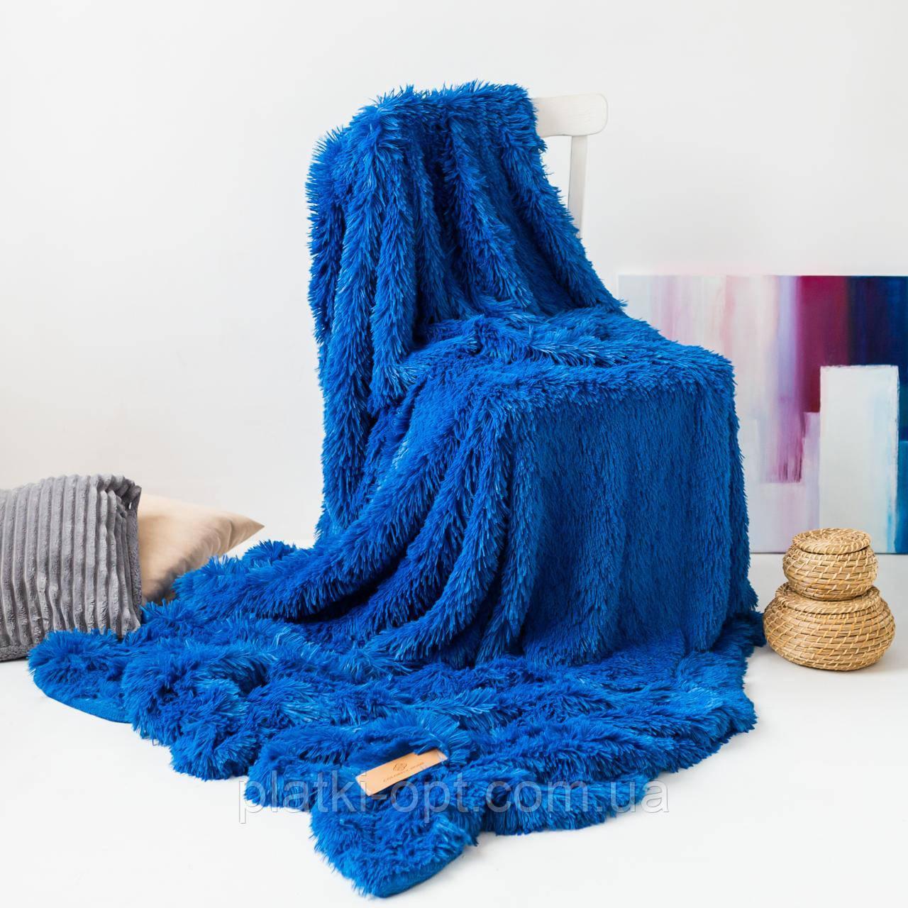 "Покривало хутряне ""Травичка"" (синє) 220х240 см"