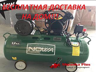 Компрессор ременной, 2 цилиндра, 2.3 кВт, 100л, 420 л/мин NOWA КРN 420-100