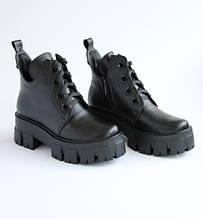 Шкіряні демісезонні жіночі черевики чорні INSHOES