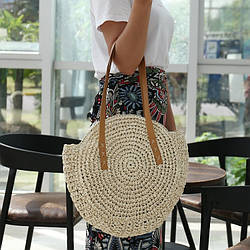 Соломенная сумка с плетением и кисточками круглая Sentiment (Молочный)