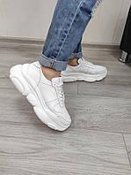 Білі шкіряні кросівки на підошві стильною, фото 1