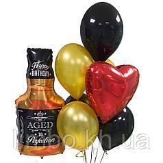Шарики на день рождения мужу с фольгированной  фигурой Виски