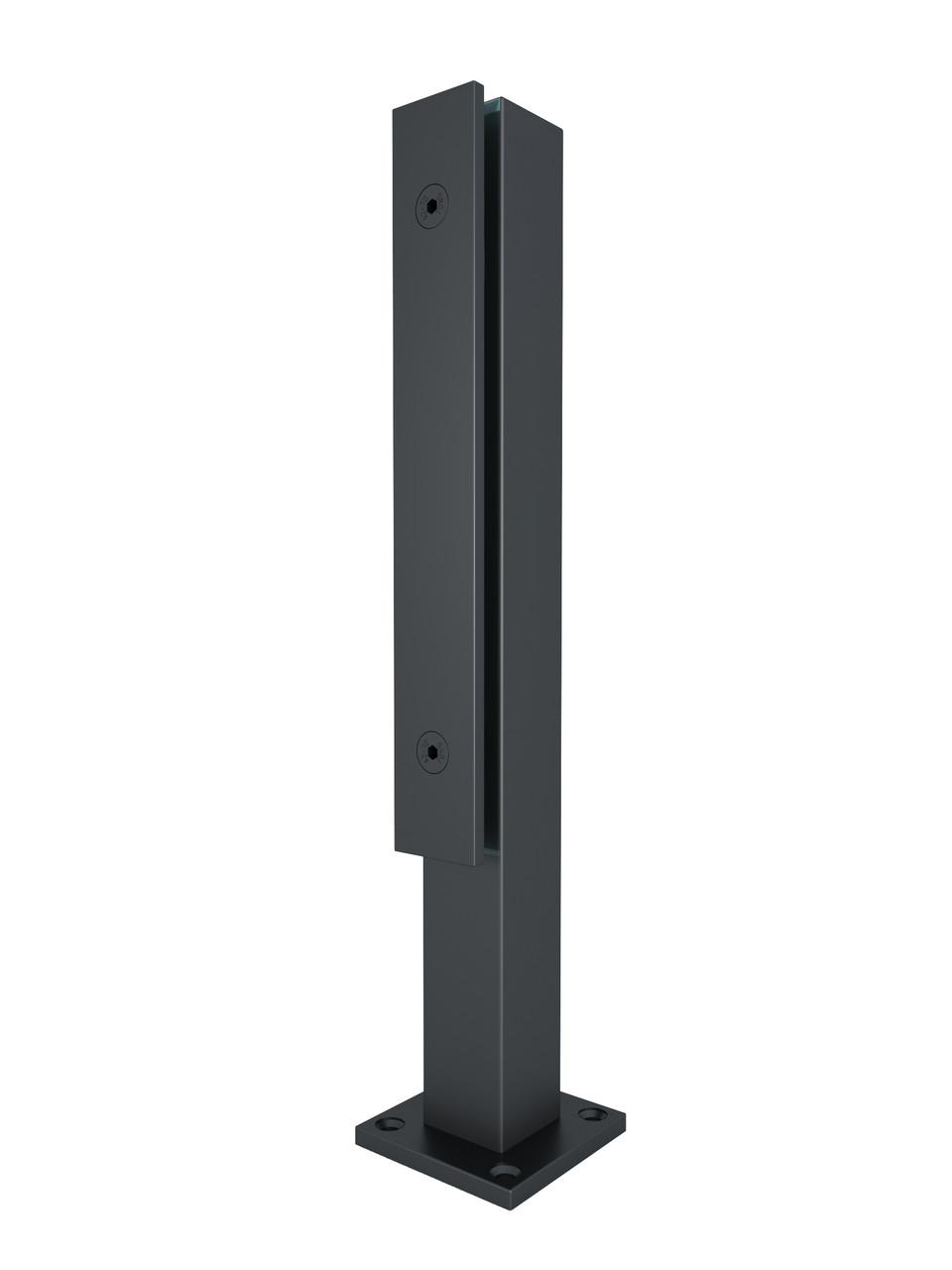 ODF-02-06-21-H400 Стійка для скла з нержавійки з притискною пластиною для скляних огороджень і поручнів, чер