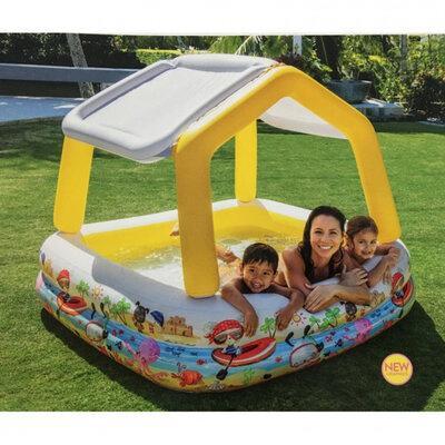 Детский надувной бассейн Intex 57470 «Аквариум» Желтый со съемным навесом (157*157*122 см)