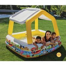 Дитячий надувний басейн Intex 57470 «Акваріум» Жовтий зі знімним навісом (157*157*122 см)