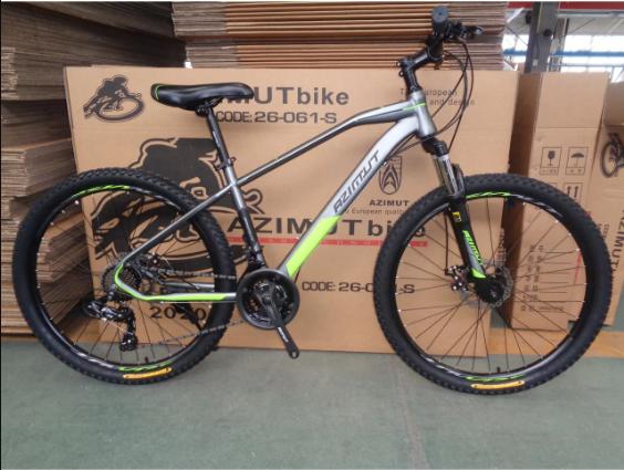 """Підлітковий гірський велосипед Azimut Gemini 24 розмір рами 15"""" сіро-зелений"""