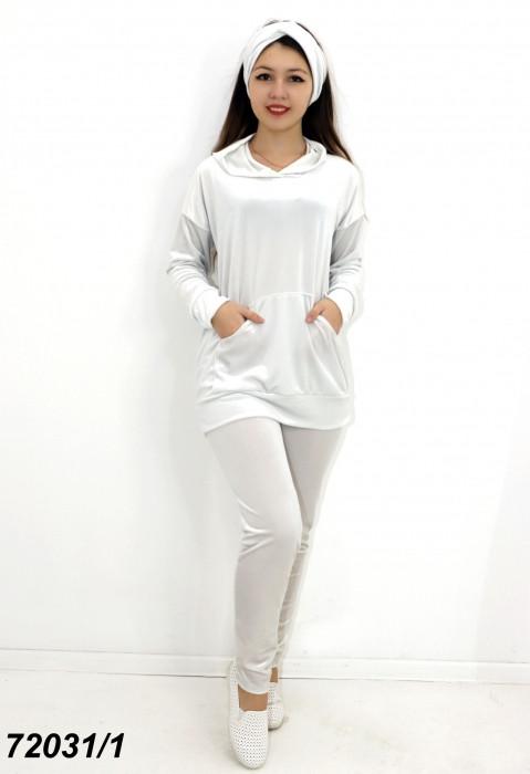 Оксамитовий білий жіночий костюм з брюками, пов'язка-чалма у подарунок! 42 44 46