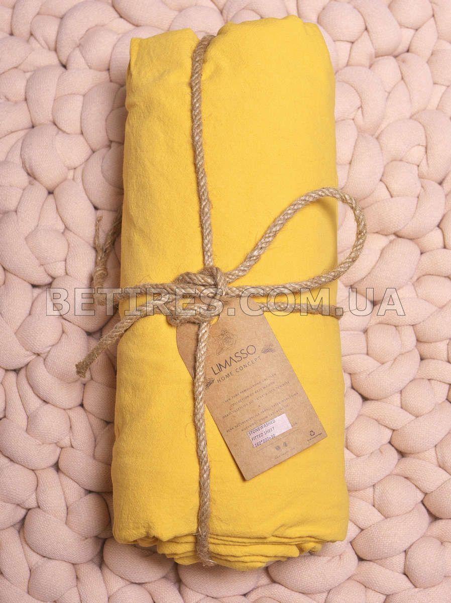 Простынь на резинке 180х200х30 LIMASSO LIMONADE желтая