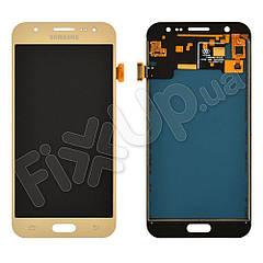 Дисплей для Samsung J500F, J500M/DS Galaxy J5 (2015) с тачскрином в сборе, цвет золотой, TFT c регулировкой