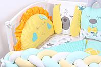 Комплект в кроватку с игрушками и косичкой в желто-мятном цвете, фото 2