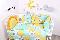 Комплект в кроватку с игрушками и косичкой в желто-мятном цвете, фото 3