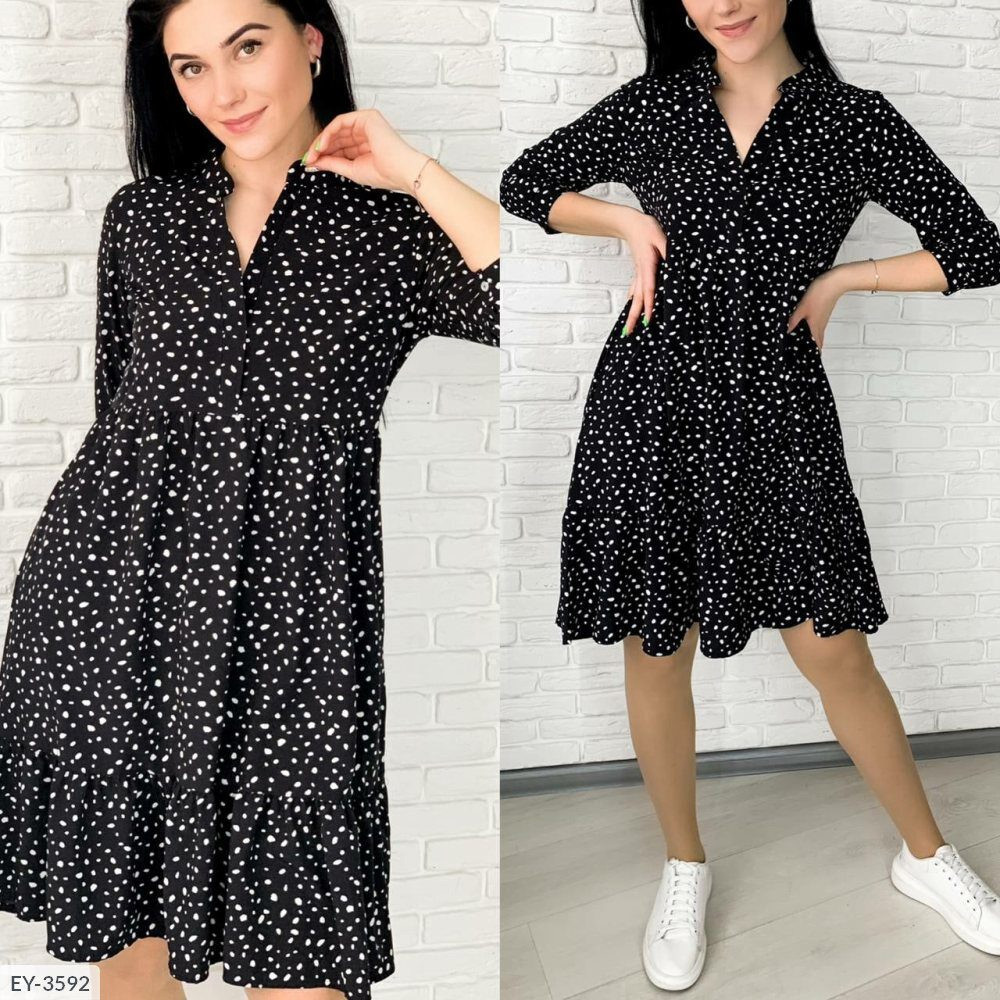 Жіноче плаття сорочечка з горошком (Батал)