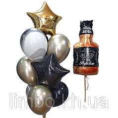 Шарики на день рождения мужу в черно-золотом цвете и фигура Виски