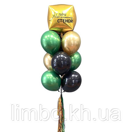 Воздушные шары для мужчин с фольгированным золотым кубом, фото 2