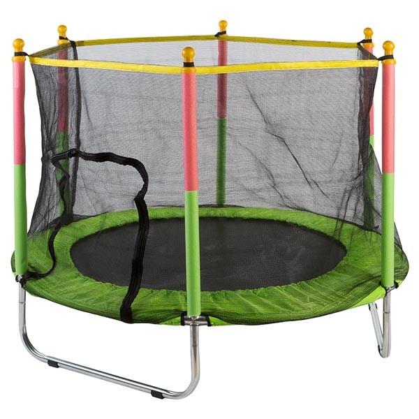 Батут для детей с сеткой, диаметр 140 см, цвет черно-зеленый