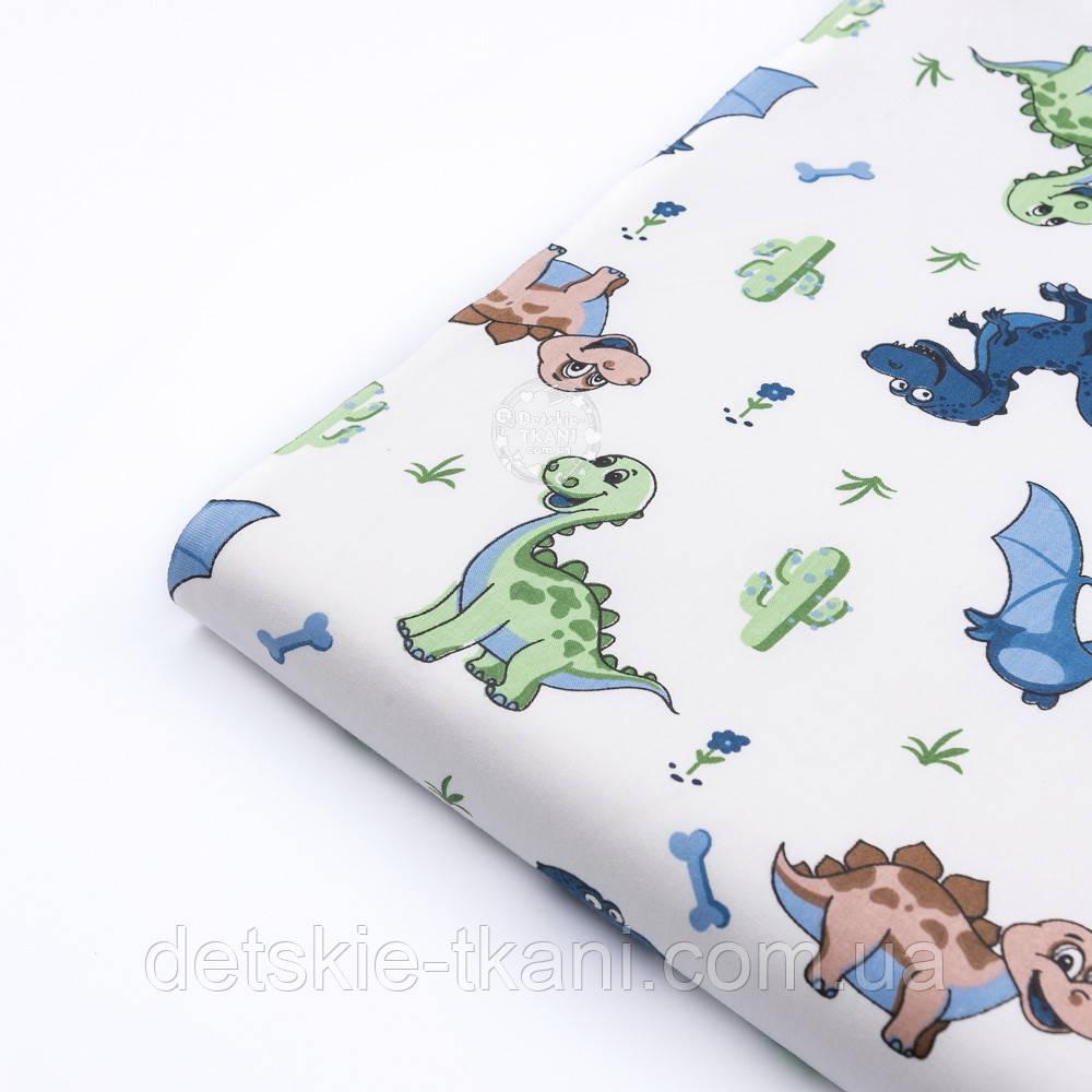"""Лоскут сатина """"Динозаврики: синие, зелёные, коричневые"""", №3269с, размер 28*77 см"""