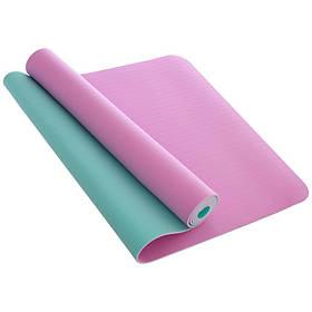 Коврик для фитнеса и йоги TPE 4мм двухслойный размер 1,83мx0,61мx4мм (FI-1515)