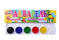 Краска акварельная 6цв Колорит 6цв без кисточки,пластиковая упаковка,медовая