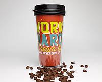 """Стакан для кофе take away c двойными стенками """"Работай тяжело - мечтай ярко"""" - дорожный стакан с крышкой"""