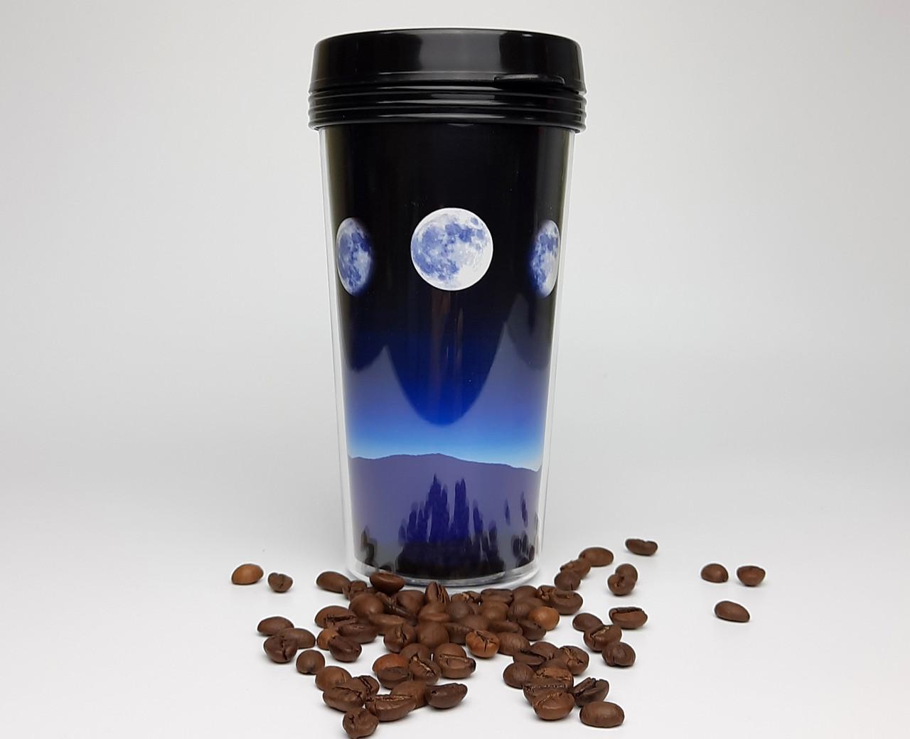 """Стакан для кофе c двойными стенками и крышкой  """"По ту сторону Луны"""" -  дорожный стакан для напитков"""