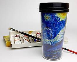 """Еко-стакан з кришкою і подвійними стінками для напоїв c собою """"Малюю, як Ван Гог, і навіть краще"""" """" -"""