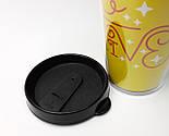 """Эко-стакан желтый с крышкой и двойными стенками для напитков c собой """"Позитив"""" - подарок для оптимистов, фото 7"""