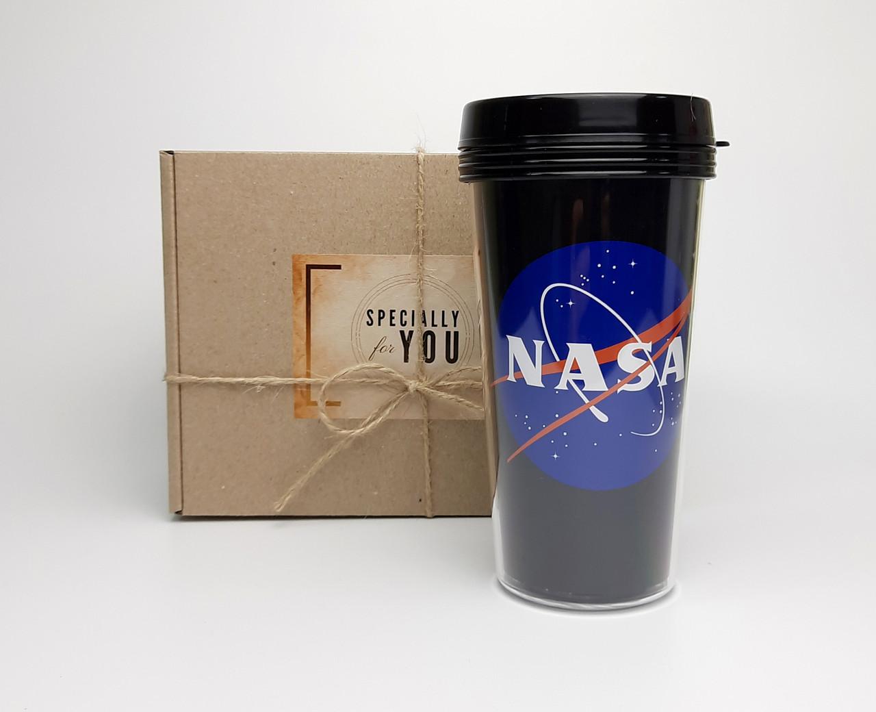 """Стакан для кофе c двойными стенками и крышкой  """"NASA"""" -  в подарочной крафтовой коробке"""