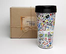 """Стакан для кави c подвійними стінками і кришкою """"Метро в Париж"""" в крафтового подарунковій упаковці"""