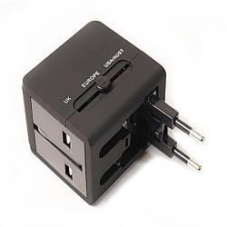 Универсальный дорожный сетевой переходник PowerPlant c USB 220V 6A