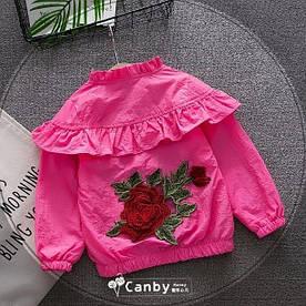 Вітровка для дівчаток з трояндою малинова
