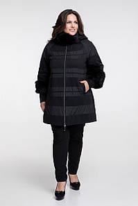 Зимнее пальто с мехом CR-650-BLK