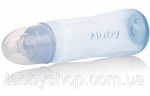 Бутылочка антиколиковая NUBY со стандартным горлом, средний поток, 240 мл (голубая)