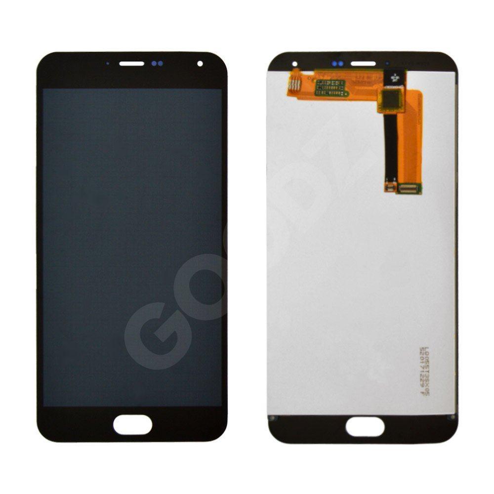 Дисплей для Meizu M2 Note з тачскріном в зборі, колір чорний, копія високої якості, з жовтим шлейф