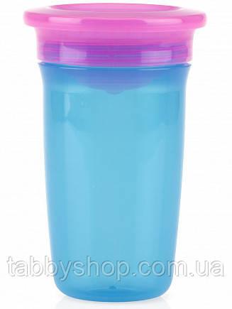 Чашка-непроливайка 360° NUBY с крышкой, 300 мл (голубой+розовый)