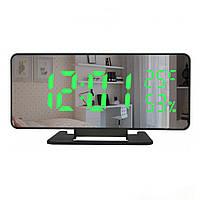 Настільні годинники дзеркальний дисплей Led Mirror Clock (VST 888Y) Зелена підсвітка
