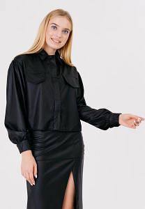 Укороченная Куртка С Клапанами Матовой Кожаной Фактуры - 550-L
