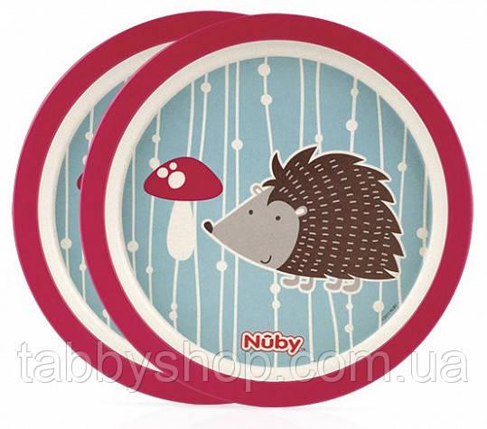 Набор плоских бамбуковых Эко тарелок NUBY (розовый)